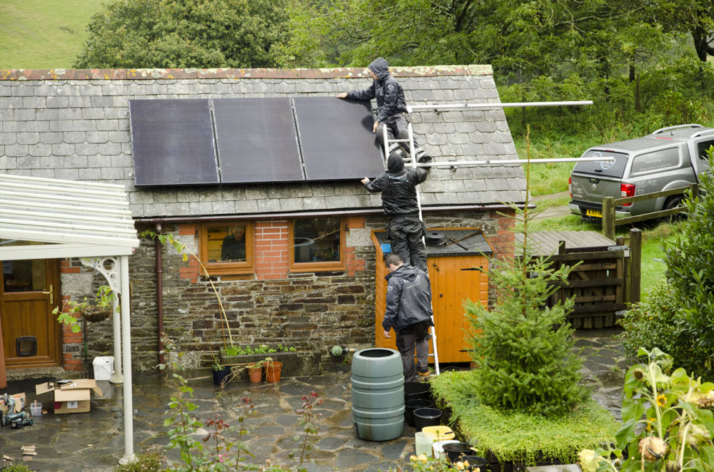 Solar array being fitted