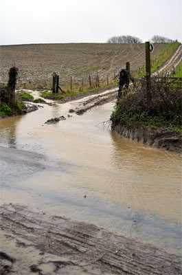 Soil washing off a ploughed field and clogging up road drains