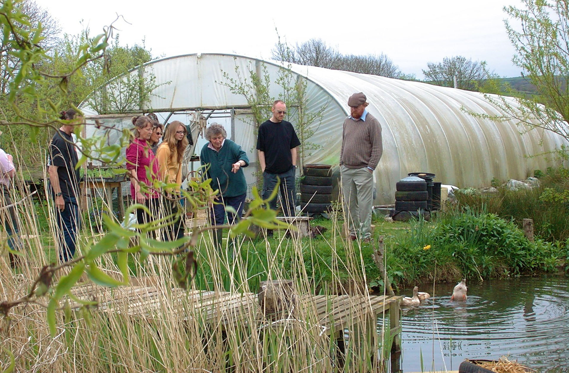 Pat explaining the pond system